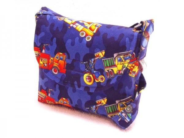Kindergartentasche in blau mit Auto Motivstoff