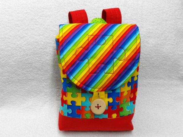 Kindergartenrucksack Puzzle rot