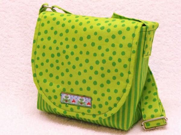 Kindertasche grün gepunktet für Krippe und Kindergarten