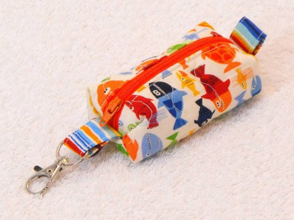 Mini-Tasche Fische - Reißverschluss rot