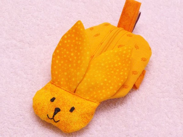 Mini Tasche - Handgelenktasche Hase in orange-gelb