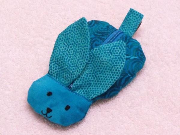 Mini Tasche - Handgelenktasche Hase in türkis (dunkel)