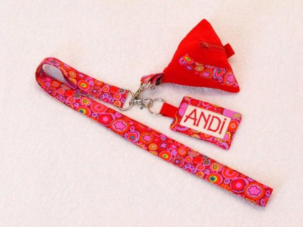 Schlüsselband mit Name und Mini Tasche