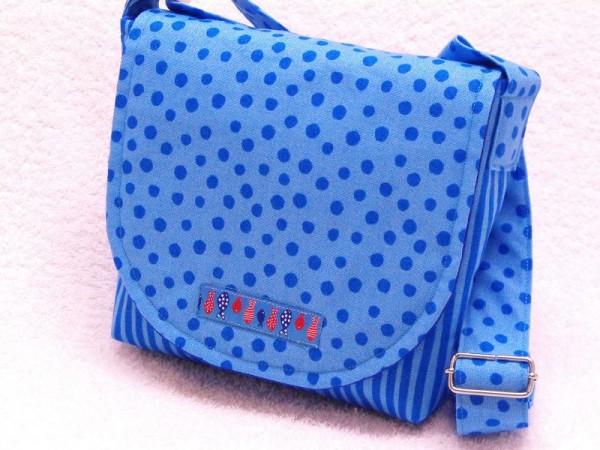 Kinderkrippe Tasche blau gepunktet für Krippe und Kindergarten